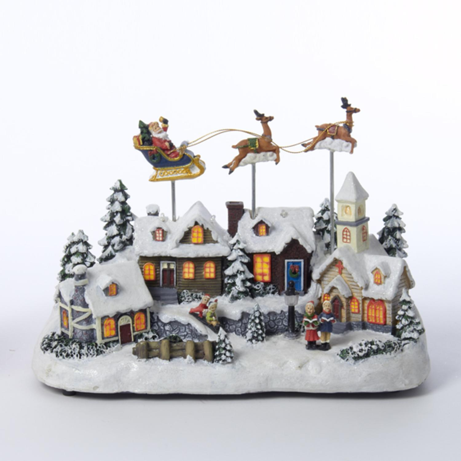 "11"" Decorative Battery Operated Musical Christmas LED Village with Moving Santa and Deer"