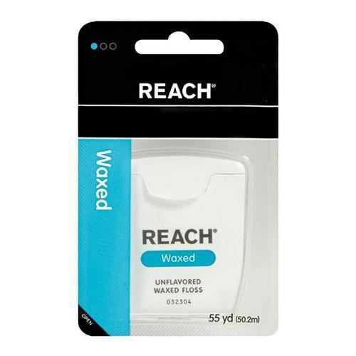 Reach: Unflavored Waxed Floss Dental Floss, 55 yd