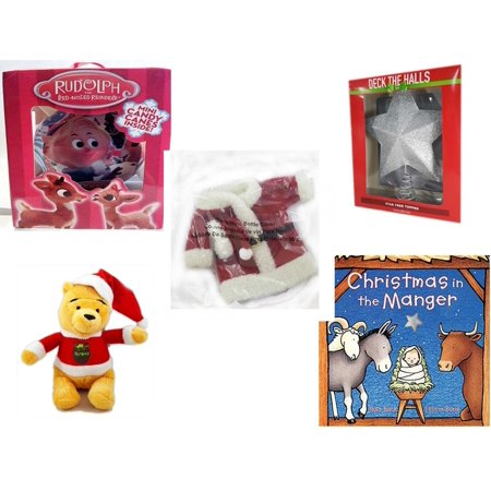 Christmas Fun Gift Bundle [5 Piece] - Rudolph Red-nosed Reindeer Fillable Xmas Ornament - Deck The Halls Silver Star Tree Topper 11.5