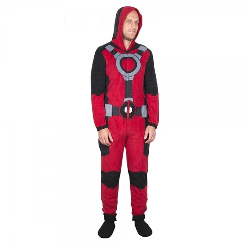 55bceee2aa5 Marvel Comics Deadpool Hooded Fleece Onesie Pajama - Walmart.com
