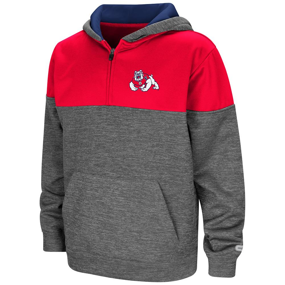 Youth Fresno State Bulldogs Quarter Zip Pull-over Hoodie - S