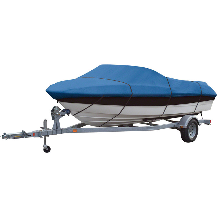 Heavy Duty 17 19 ft Trailerable Fish Ski Boat Cover 600D V-Hull With Carrying Bag Blue by konxa