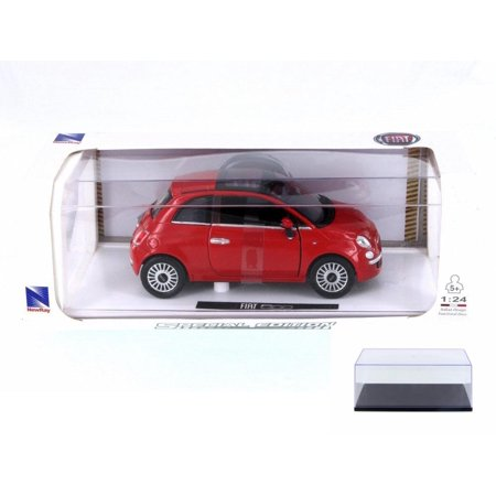 Diecast Car & Display Case Package - Fiat 500, Red - New Ray 71016A-RD - 1/24 Scale Diecast Model Toy Car w/Display (Best Fiat 500 Model)