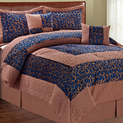 Serenta Safari Blue Fall Cheetah 6 Piece Comforter Set