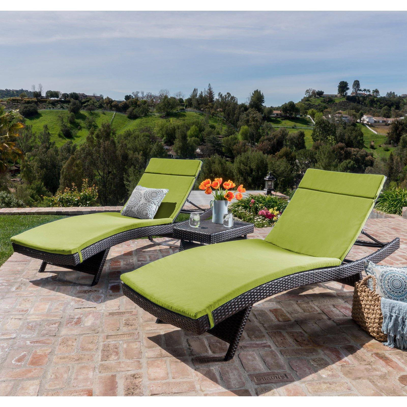 Halulu Wicker 3 Piece Chaise Lounge Set with Cushion by GDF Studio