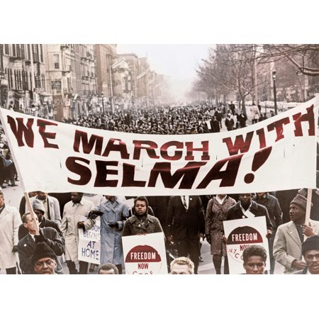 Marchers carrying banner lead way as 15000 parade in Harlem New York City 1965 Poster Print by Stocktrek - New York City Halloween Parade Photos