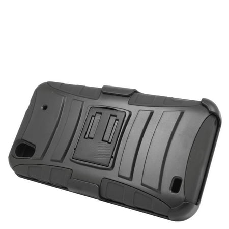Insten Hard Dual Layer Plastic Silicone Stand Case with Holster For ZTE Quartz - Black - image 3 de 3