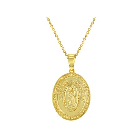Gold Virgin Mary Medal (18k Gold Plated Oval Lady of Guadalupe Virgin Mary Catholic Medal Necklace 19