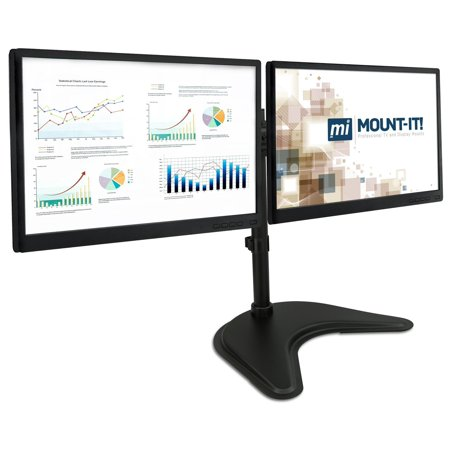 Mount-It! Dual Monitor Desk Stand, Height Adjustable, Free S