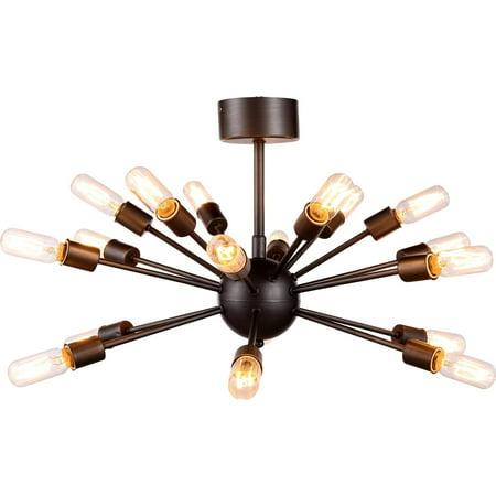 Semi-Flush Ceiling Light CORK Contemporary 18-Light Polished Nickel Meta EL-3157 Contemporary Ceiling Lighting