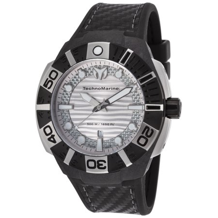 Technomarine Tm-514001 Men's Black Reef Black Silicone Silver-Tone Dial Watch