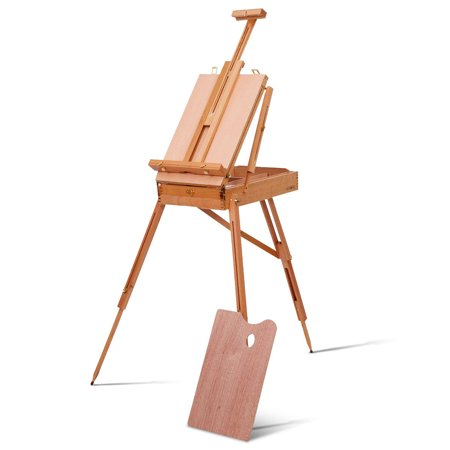 (Costway French Easel Wooden Sketch Box Portable Folding Durable Artist Painters Tripod)