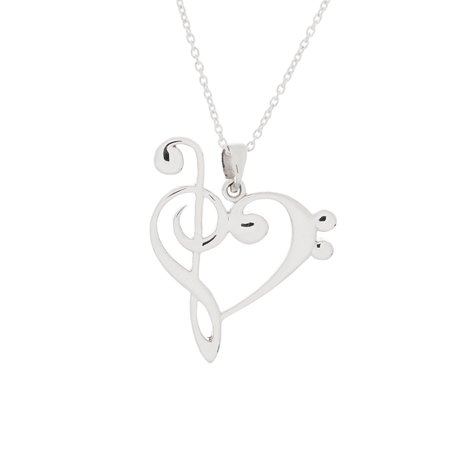 925 Sterling Silver Treble Bass Clef Heart (Reversible) w/ 18 Cable Chain Necklace