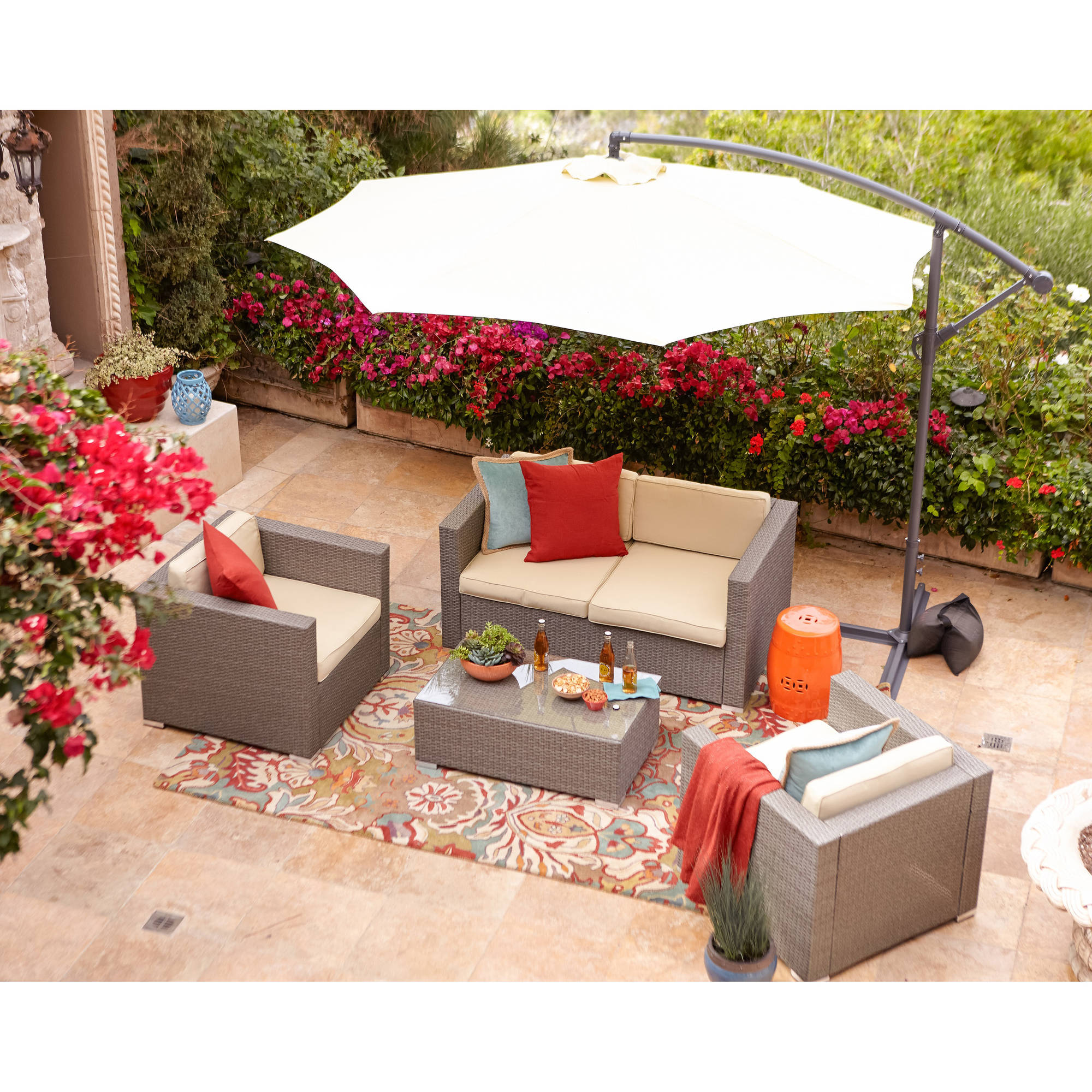 Incadozo 5-Piece Outdoor Wicker Conversation Set, Rustic Light Brown with Beige Cushions by