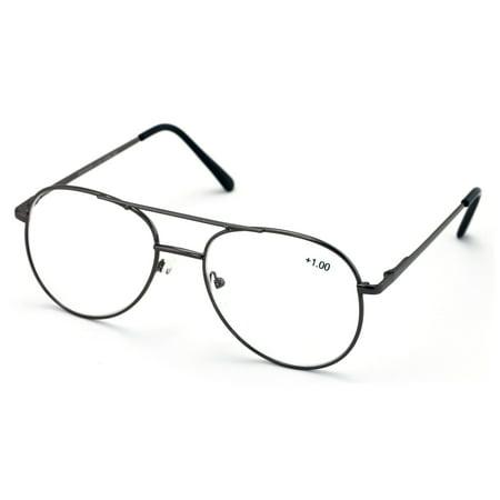 8f61295282d Metal Aviator Reading Glasses - Spring Hinge Tear Drop Reader - Walmart.com