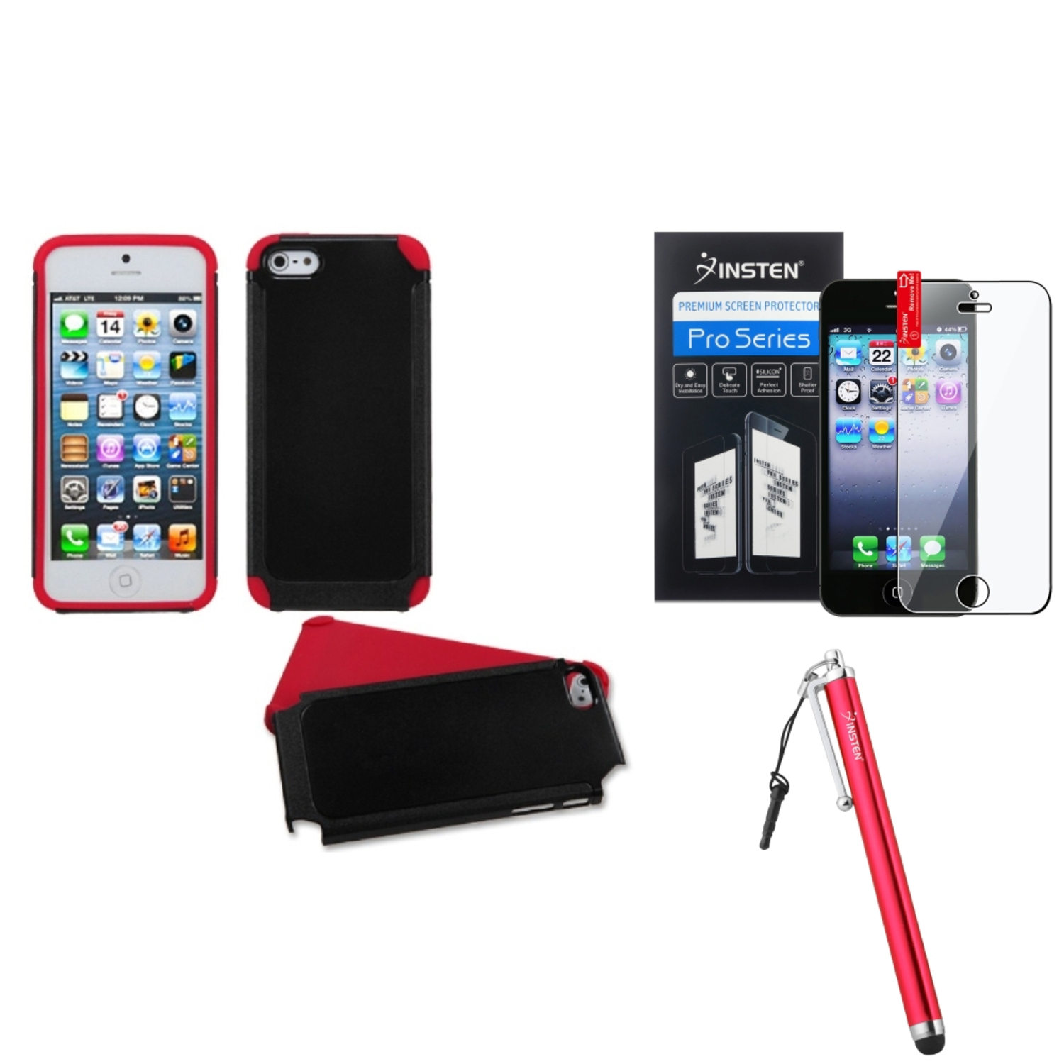 Insten Black/Red Frosted Fusion Case For iPhone SE 5S 5 + Stylus + Protector