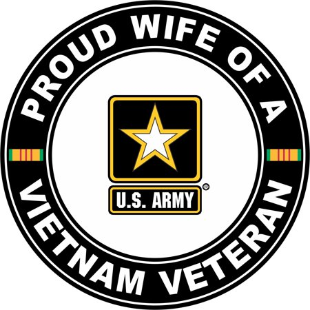 3.8 Inch U.S. Army Proud Wife of a Vietnam (Army Wife Button)