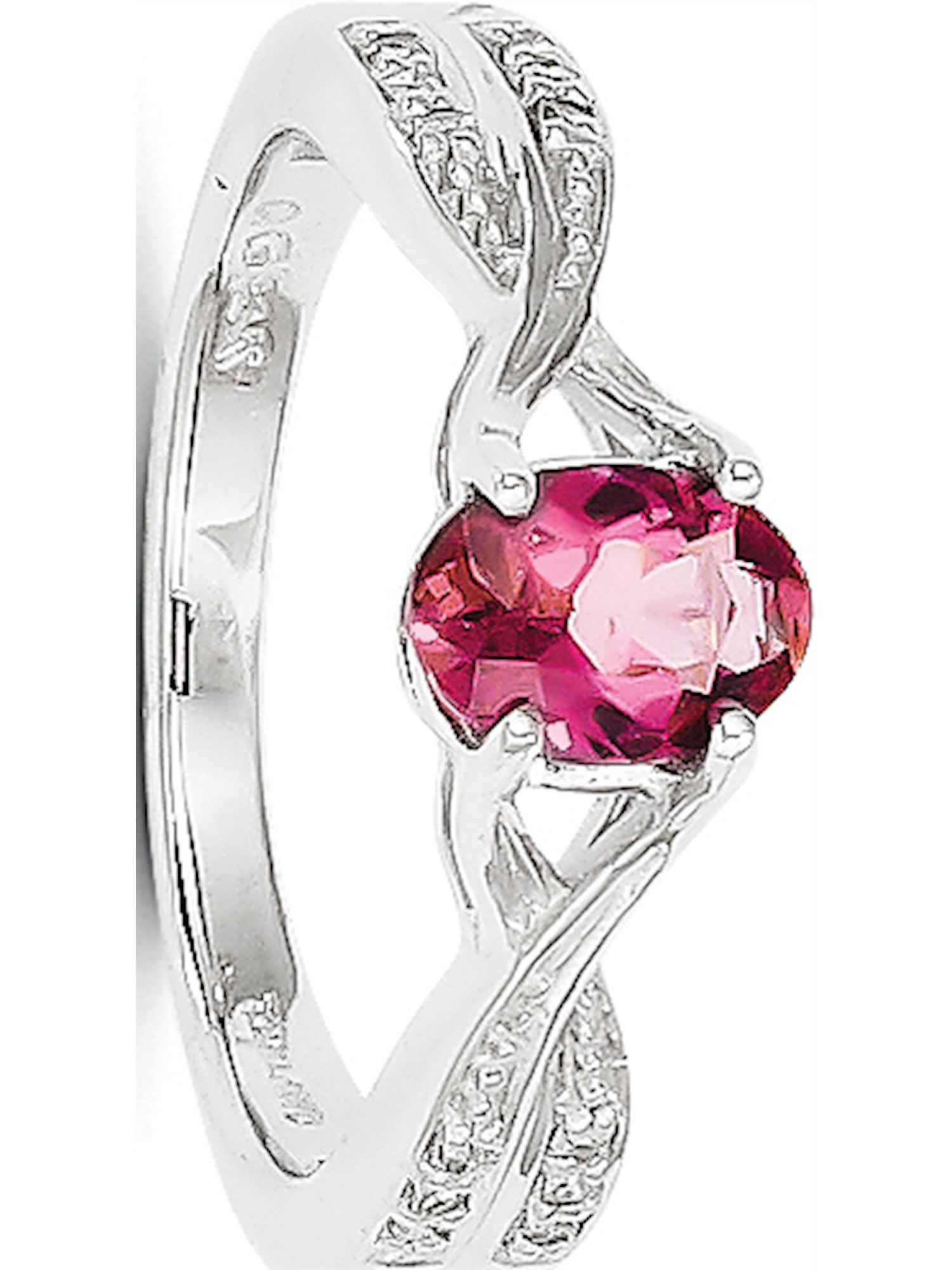 14k White Gold White Pink Tourmaline and Diamond Ring by Tourmaline Rings
