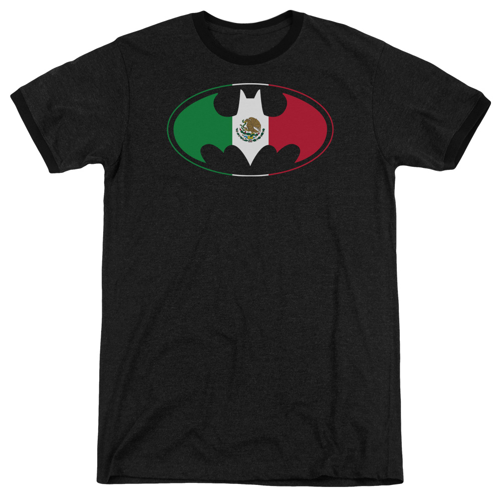 Batman Mexican Flag Shield Mens Adult Heather Ringer Shirt by Trevco