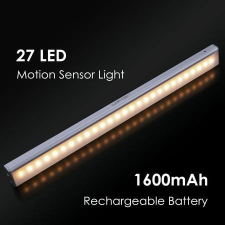 LOFTER 27-LED 1500mAh Battery Rechargeable Motion Sensor Closet Light, LED Wardrobe Light, LED Night Light, Cupboard Light, Cabinet Light Bar (Warm