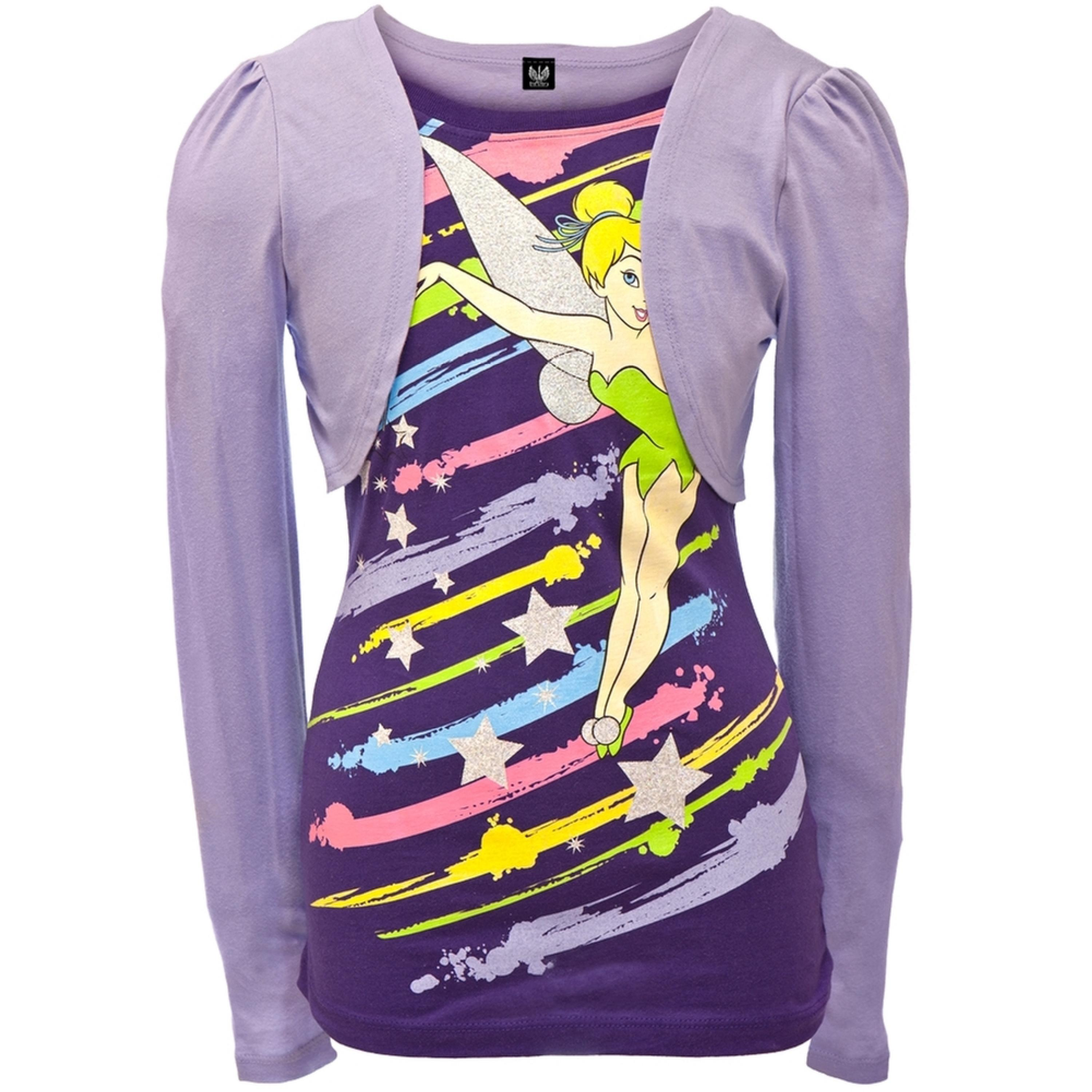 Tinkerbell - Paint Stripes Girls Youth 2fer Long Sleeve T-Shirt