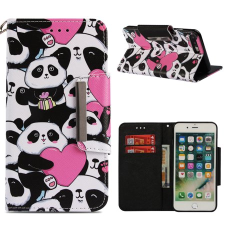 iPhone 8+ Plus Wallet Case, iPhone 7+ Plus Case, Allytech 3D Bling Crystal Rhinestone Slim PU Leather Flip Cover with Card Holder Stand Protective Book Case Cover for iPhone 8+ 7+, Love Panda