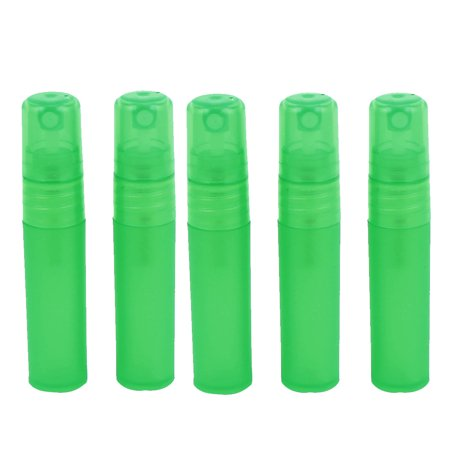 5pcs Green Plastic Cosmetic Spray Press Bottle Perfume Container Holder 5ml ()
