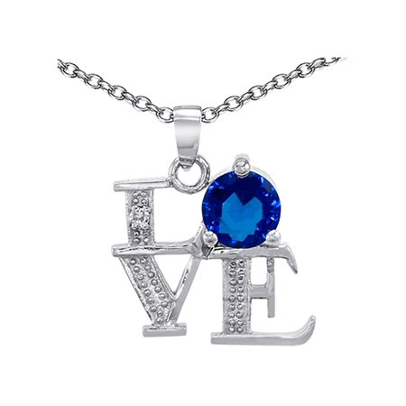 Star K LOVE Pendant Necklace Round 7mm Simulated Sapphire in Sterling (Stars Around Sapphire)