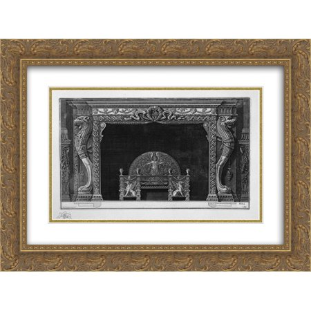 Giovanni Battista Piranesi 2x Matted 24x20 Gold Ornate Framed Art Print 'Fireplace two sides of the well-head lion paws of a lion in a rich wing'](Lion Paw Print)