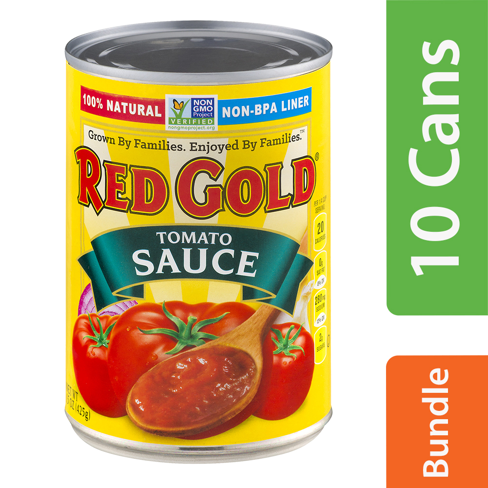Red Gold 100% Natural Tomato Sauce, 15 oz (10 Packs)