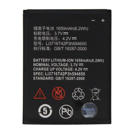 World Star™ Standard Replacement Battery LI3716T42P3H594650 For ZTE Warp Sequent / Grand X 1650mAh - Non-Retail Pack with 2-Year Limited (Best Replacement Battery For Ztes)