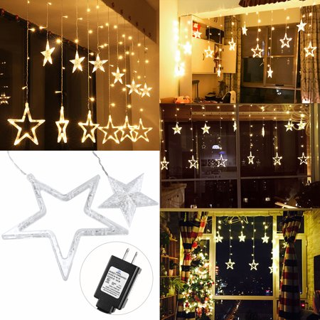 YUNLIGHTS 138 LED Star Curtain Lights Linkable Curtain String Lights for Christmas Halloween Wedding Party Home Garden Bedroom Outdoor Indoor Decorations with US Plug (Warm White Light) - Halloween Outdoor Home Decorations