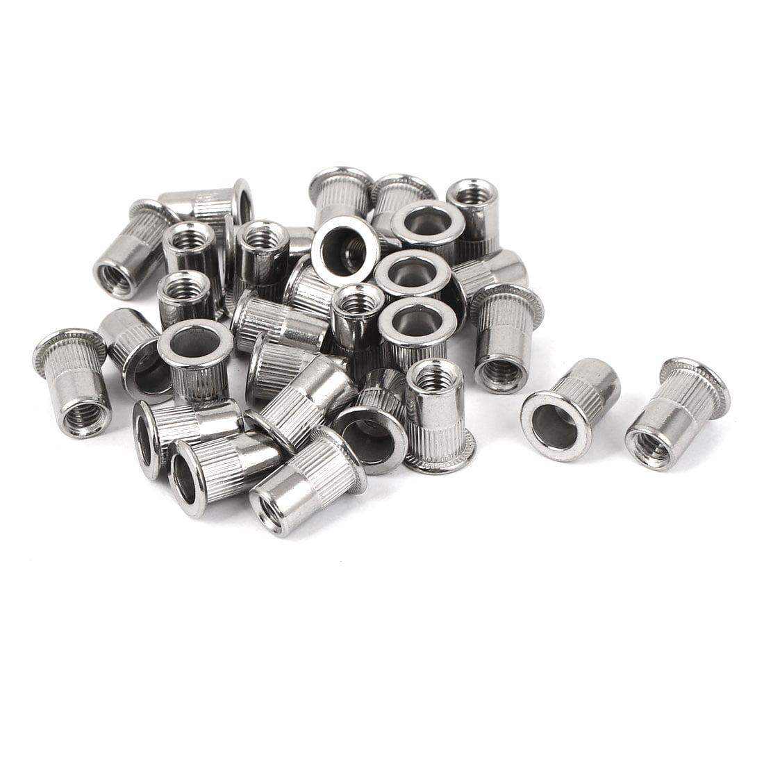 Uxcell M6 Stainless Steel Flat Head Rivet Nut  Insert Nutsert Silver Tone (30-pack)