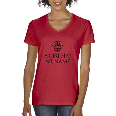Girls Shop Name (New Way 688 - Women's V-Neck T-Shirt A Girl Has No Name Game Of)