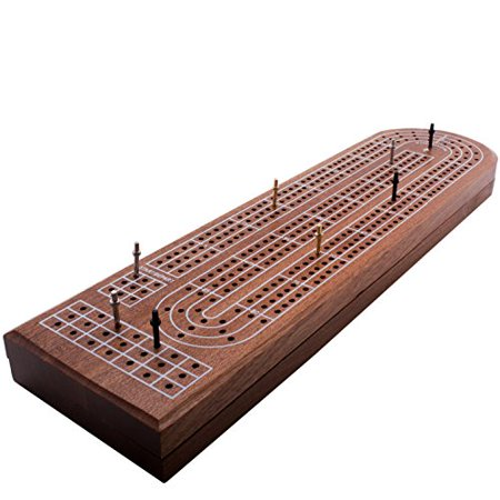Premium Cribbage Board Game by GrowUpSmart with 3-track classic Cribbage Board, free Playing Cards Deck, easy grip metal Cribbage Pegs, kids/adults Retro Wooden Board Set, hard wood+convenient stor - image 1 of 4