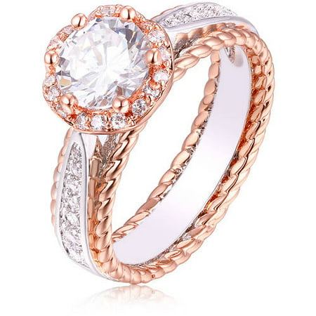 CZ 18kt White and Rose Gold-Tone Ring