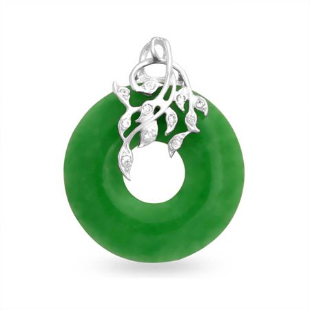 Cz leaves dyed green jade open circle pendant sterling silver cz leaves dyed green jade open circle pendant sterling silver necklace 18 inches mozeypictures Choice Image