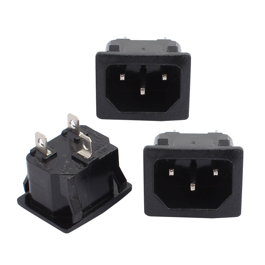 3Pcs 250VAC 150 3 Pin IEC320 C14 Inlet Power Socket Copper Rhodium Black - image 1 of 1