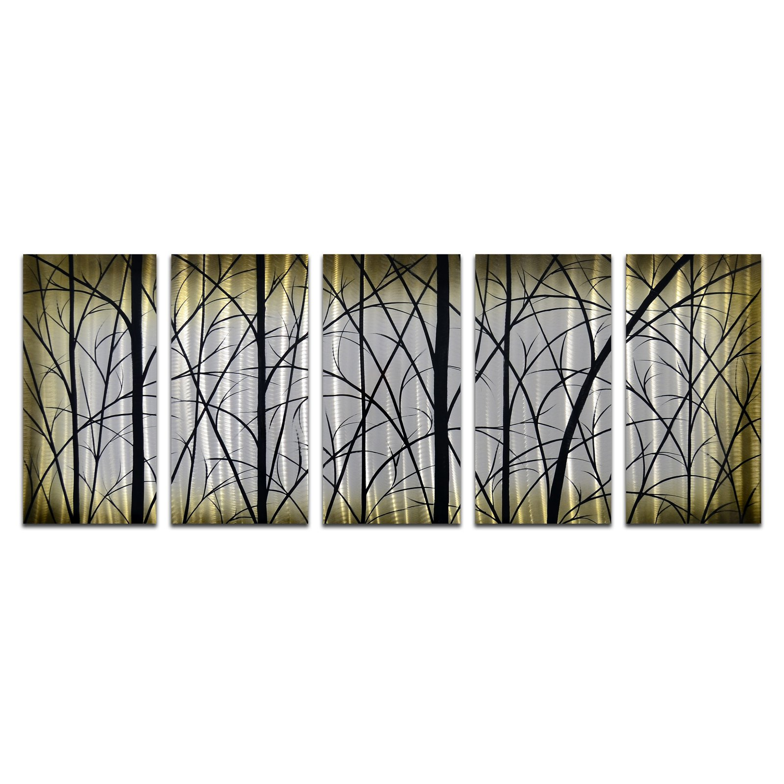 OMAX Imposing Trees Handmade Modern Metal Wall Art - Set of 5