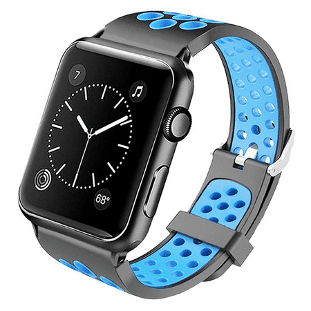 Perforated Sport Band Watch Strap for Apple Watch 44mm / 42mm - Black Baby Blue
