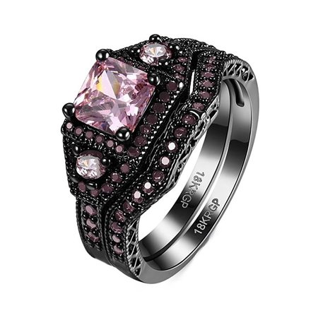 Danielle Pink Wedding Ring Set Black Plated - Ginger Lyne - Timeless Wedding Day Collection