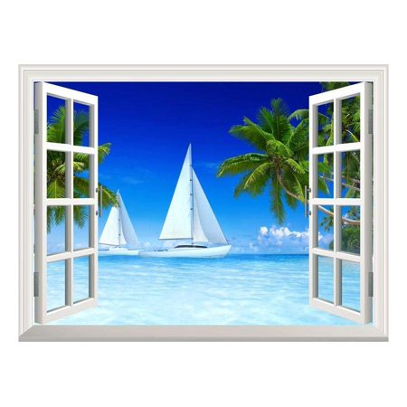 """wall26 Removable Wall Sticker/Wall Mural - Beautiful Tropical Scenery of Sailboats on Beach and Palm Tree 
