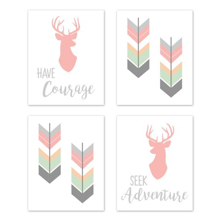 Sweet Jojo Designs  Coral Mint Grey Woodland Deer Woodsy Collection Wall Decor Art Prints (Set of 4) - Adventure Courage ()