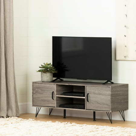 """South Shore Evane TV Stand with Doors for TVs up to 55"""", Oak Camel (Glass Tv Stand With Doors)"""