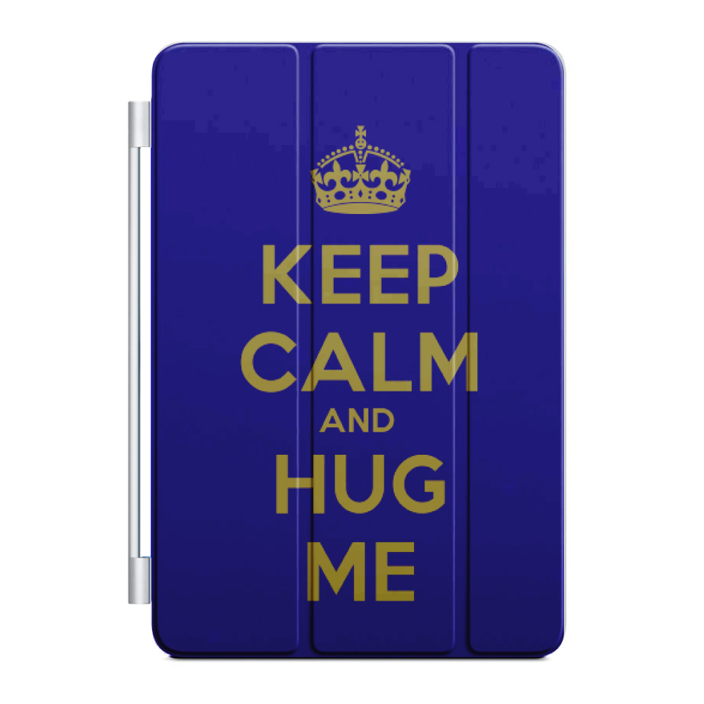 CUSTOM Black Smart Cover (Magnetic Front Cover / Stand) for Apple iPad Mini 4 - Keep Calm and Hug Me