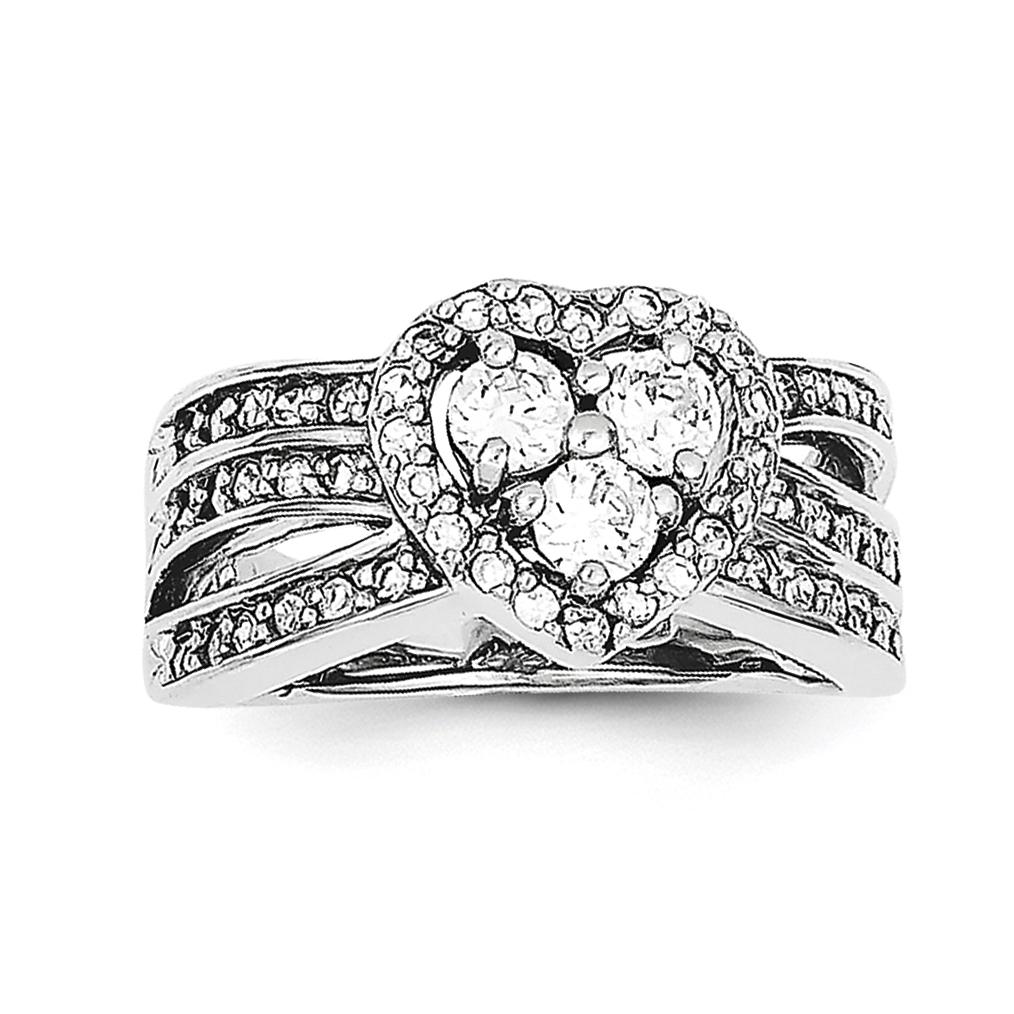 925 Sterling Silver Cubic Zirconia Heart Ring - image 2 of 2