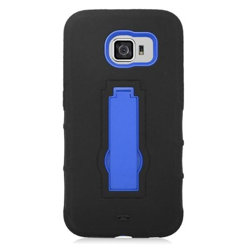 Insten Symbiosis Hard Hybrid Silicone Cover Case w/stand For Samsung Galaxy S6 - Black/Blue