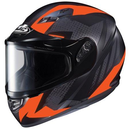 HJC CS-R3 Treague Snow Helmet with Dual Lens Shield Flat Hi-Viz Bright Orange (MC-6HF) (Black, Medium) ()