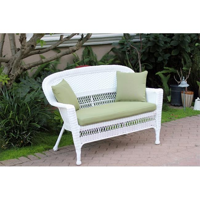 Jeco W00206-L-FS029-CL White Wicker Patio Love Seat With Green Cushion And Pillows