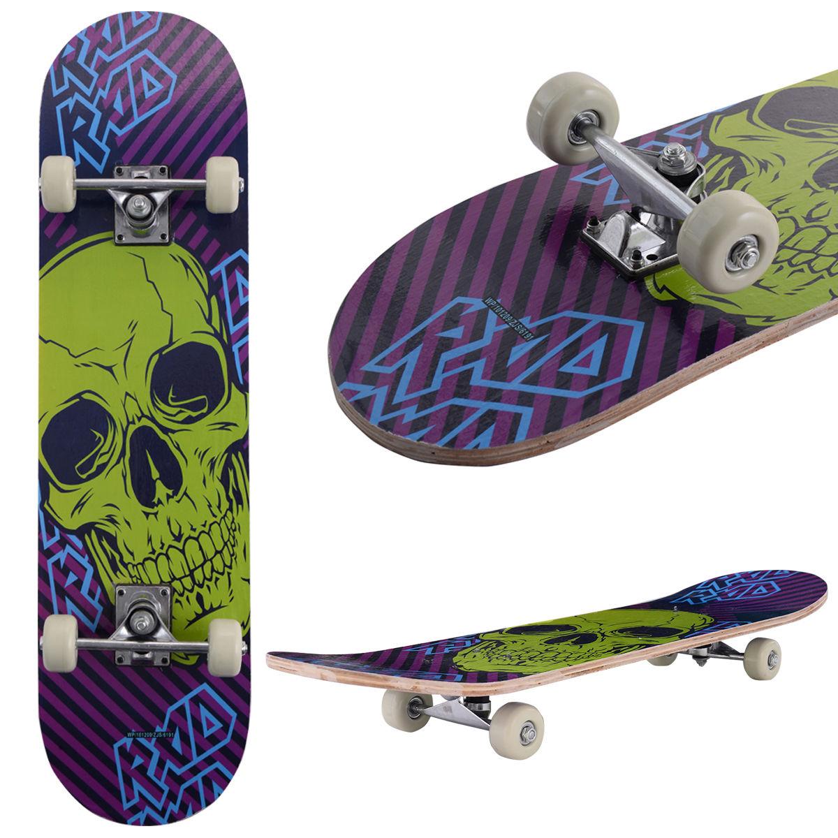 Costway 31'' x 8'' Professional Kids Skateboard Complete Wheel Trucks Maple Deck Wood Gift
